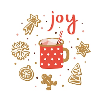 Cute poster with lettering joy, cocoa cup and gingerbreads.
