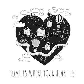 Cute poster with a village. home is where your heart is.
