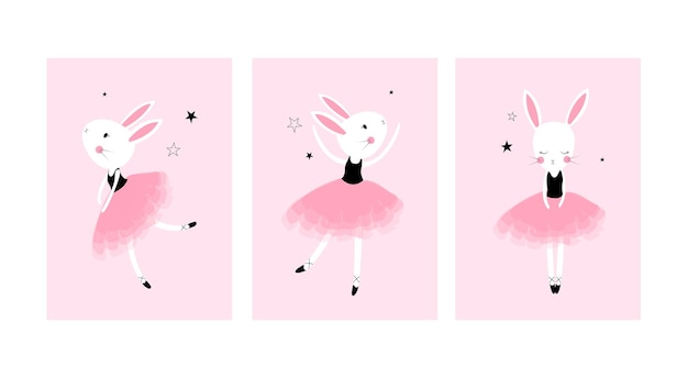 Cute posters with little ballet rabbits vector prints for baby room baby shower greeting card kid