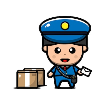 Cute postman deliveryman character