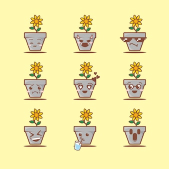 Cute pot and flower with face, flat cartoon style