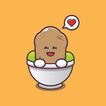 Cute potato in bowl cartoon illustration vegetable cartoon vector illustration