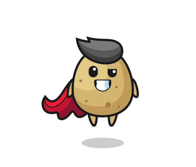 The cute potato character as a flying superhero , cute style design for t shirt, sticker, logo element