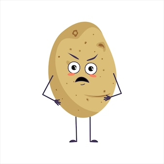Cute potato character with angry emotions face arms
