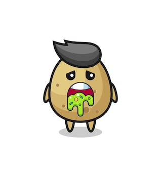 The cute potato character with puke , cute style design for t shirt, sticker, logo element