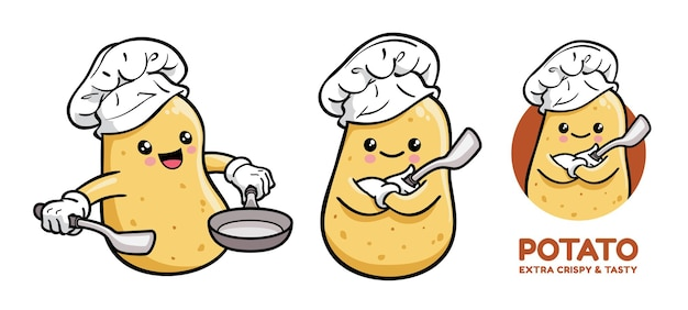 Симпатичный картофельный повар мультипликационный персонаж