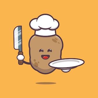 Cute potato chef cartoon illustration vegetable cartoon vector illustration