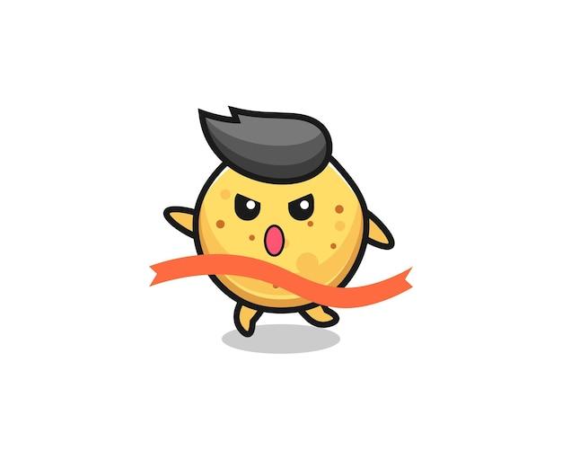 Cute potato chip illustration is reaching the finish , cute design