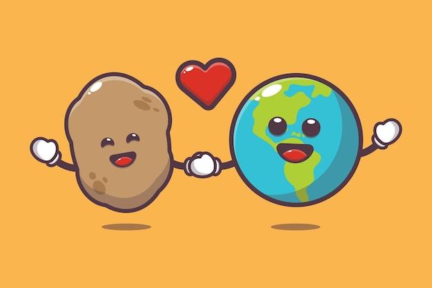 Cute potato and earth cartoon illustration world vegetarian day cartoon vector illustration
