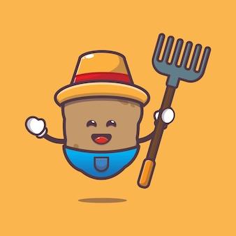 Cute potato farmer cartoon illustration vegetable cartoon vector illustration