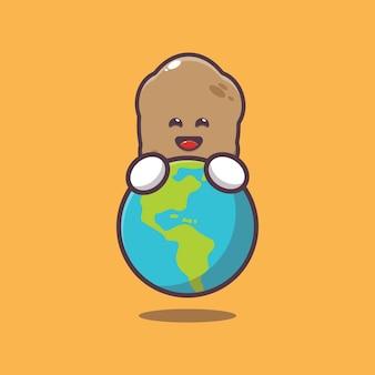 Cute potato huging earth cartoon illustration world vegetarian day illustration