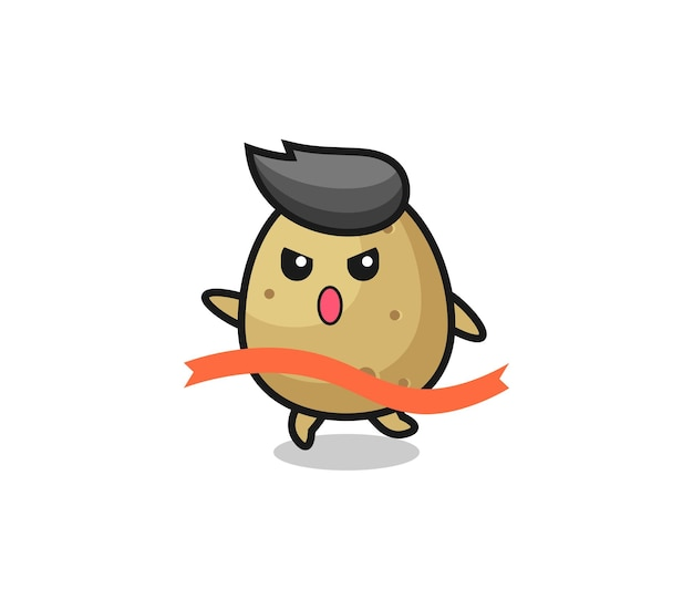 Cute potato illustration is reaching the finish , cute style design for t shirt, sticker, logo element