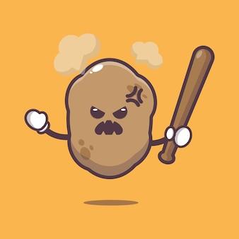 Cute potato is angry cartoon illustration vegetable cartoon vector illustration