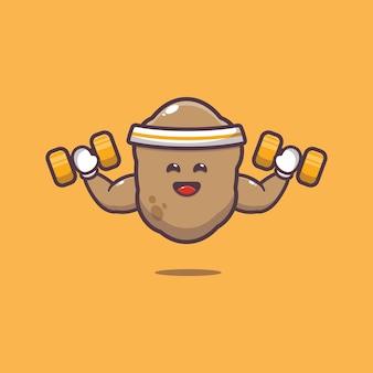 Cute potato lifting dumbbell cartoon illustration vegetable cartoon vector illustration