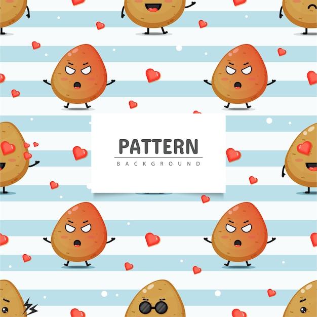 かわいいポテトマスコットシームレスパターン