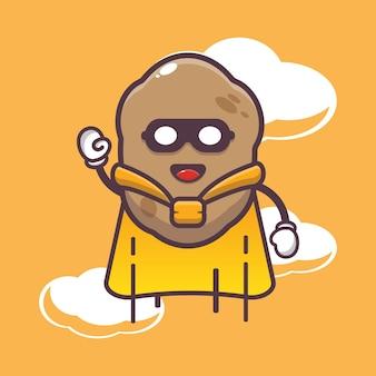 Cute potato super hero flying cartoon illustration vegetable cartoon vector illustration