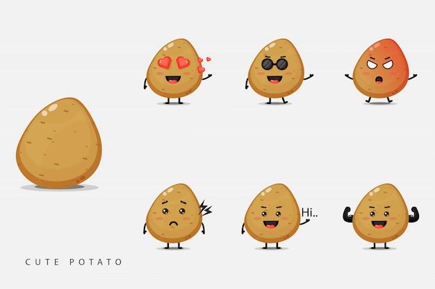 Cute potato vegetable mascot set