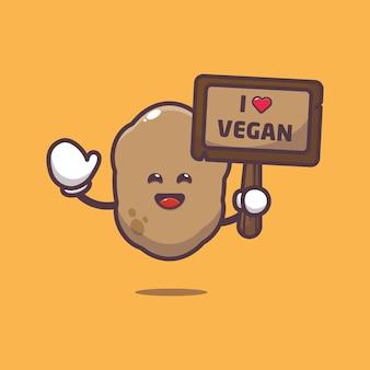 Cute potato with greeting love vegetable cartoon illustration world vegetarian day illustration