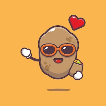 Cute potato with shopping bag cartoon illustration vegetable cartoon vector illustration