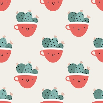 Cute pots cups with cacti. vector seamless pattern. funny faces are smiling. trendy hand-drawn scandinavian cartoon doodle style. minimalistic pastel palette. ideal for baby textiles, clothing.