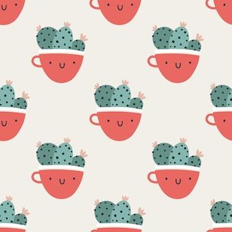 선인장과 귀여운 냄비 컵입니다. 벡터 완벽 한 패턴입니다. 재미있는 얼굴이 웃고 있습니다. 트렌디한 손으로 그린 스칸디나비아 만화 낙서 스타일. 최소한의 파스텔 팔레트입니다. 아기 직물, 의류에 이상적입니다.