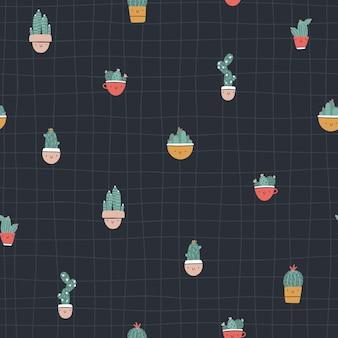 선인장과 다육 식물이 있는 귀여운 화분. 벡터 완벽 한 패턴입니다. 재미있는 얼굴이 웃고 있습니다. 트렌디한 손으로 그린 스칸디나비아 만화 낙서 스타일. 최소한의 파스텔 팔레트입니다. 유아용 섬유, 의류.