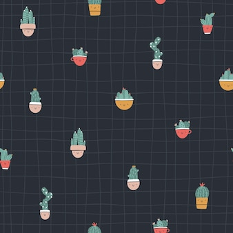Cute pots with cacti and succulents. vector seamless pattern. funny faces are smiling. trendy hand-drawn scandinavian cartoon doodle style. minimalistic pastel palette. for baby textiles, clothing.