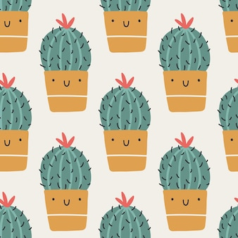 Cute pots with cactuses. vector seamless pattern. funny faces are smiling. trendy hand-drawn scandinavian cartoon doodle style. minimalistic pastel palette. ideal for baby textiles, fabrics, clothing.