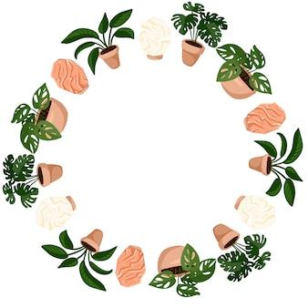 Милые горшечные растения и соляные лампы мультяшном стиле венок ornamenrt дизайн. набор hygge суккулентных растений. уютная коллекция растений в скандинавском стиле лагом