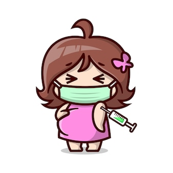 Cute pregnant mom is wearing mask and being vaccinated high quality cartoon illustration
