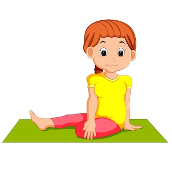 Cute pregnant woman character doing yoga
