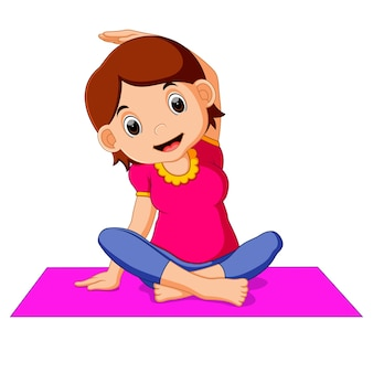 Cute pregnant woman character doing yoga