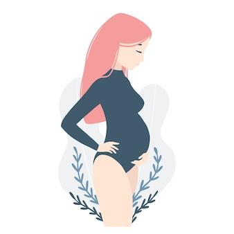 ピンクの髪のボディースーツでかわいい妊娠中の若い女性。シンプルな漫画の手描きスタイルのキャラクターのイラスト。パステル調のパレット。妊娠中の母親が赤ちゃんのキックを感じています。
