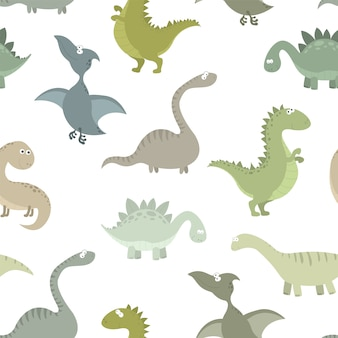 Cute prehistoric dinosaurs vector seamless pattern.