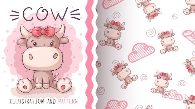 Милая красивая корова - бесшовный фон