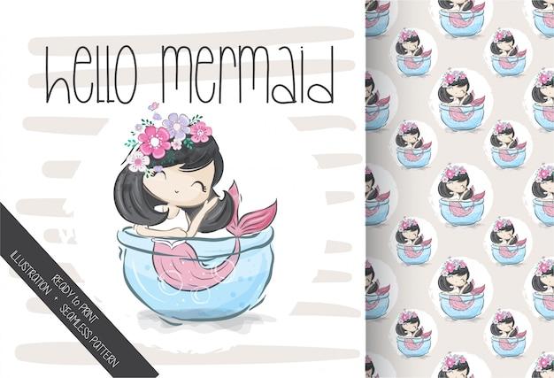 Cute pretty mermaid seamless pattern