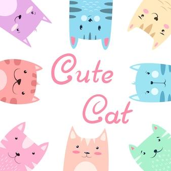 Cute pretty set cat