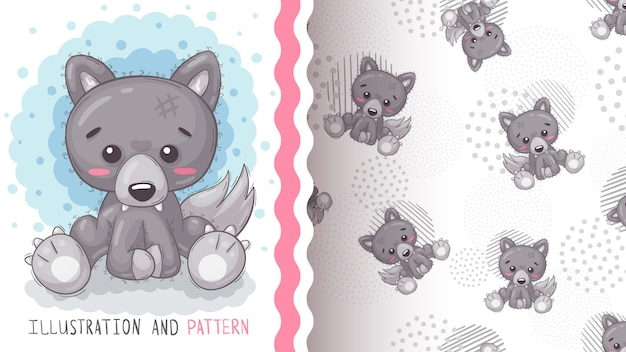 Cute pretty woof - seamless pattern