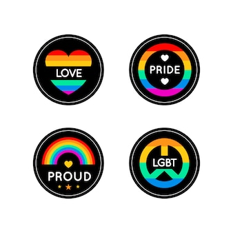 Cute pride day labels design