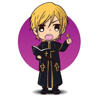 Cute priest cartoon character