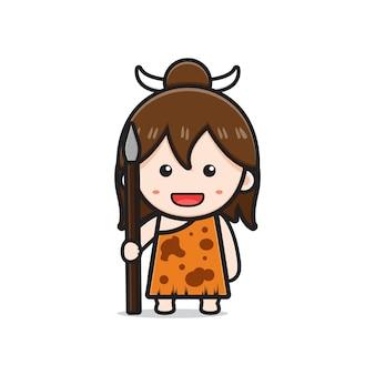 Cute primitive cave girl holding spear cartoon icon illustration. design isolated flat cartoon style