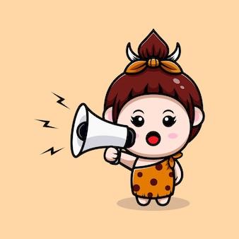 Cute primitive cavegirl with megaphone icon illustration
