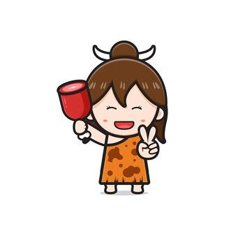 Cute primitive caveman girl holding meat cartoon icon illustration. design isolated flat cartoon style