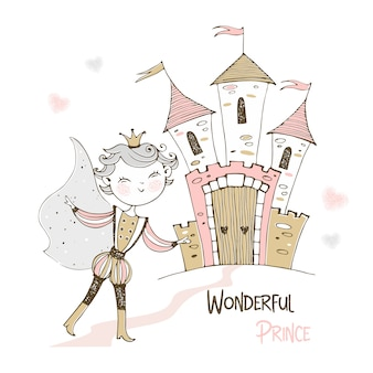 Cute prince and a fairy-tale castle.