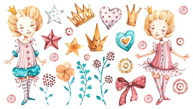かわいいお姫様の女の赤ちゃんのイラストデザイン