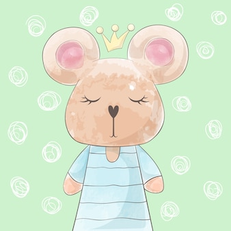 Cute princess bear, rabbit deer watercolor illustration.