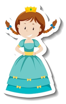 Cute princess in blue dress cartoon character sticker