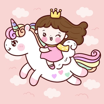 Cute princess cartoon ride unicorn pegasus on sky