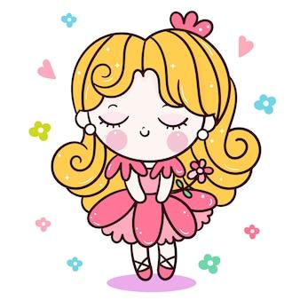 Милый мультфильм принцесса с цветком
