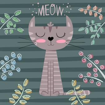 Cute princess cat cartoon illustration